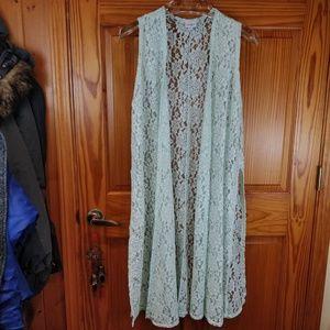 Lularoe Mint Green Lace Joy Duster Vest LG